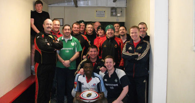 Coach Development Officers Ken O'Connell and Keith Murphy pictured with coaches from Old Christians RFC