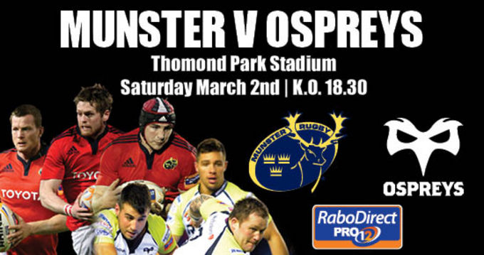 Munster take on Ospreys in round 17 of the RDP12