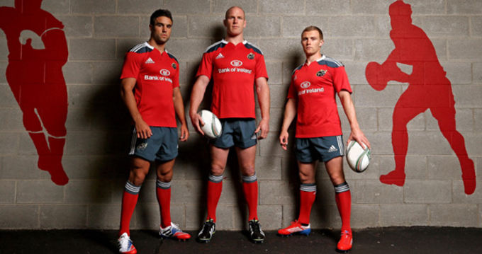 Conor Murray, Paul O'Connell and Keith Earls with the adidas Munster Rugby home kit for season 2013/14