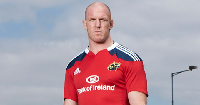 O'Connell is pictured in the new home adidas Munster Rugby jersey