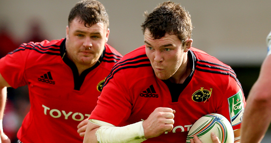 Peter O'Mahony with fellow Irish international Dave Kilcoyne in support