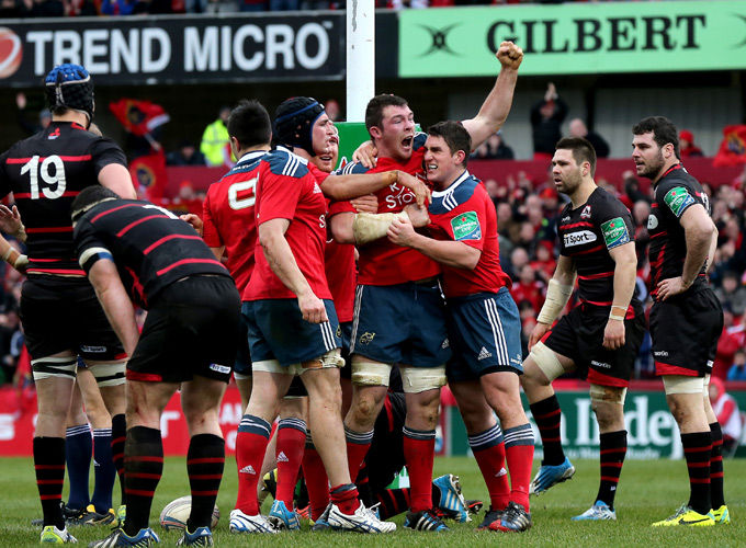 Captain Peter O'Mahony and players celebrate after scoring the fourth and bonus point winning try