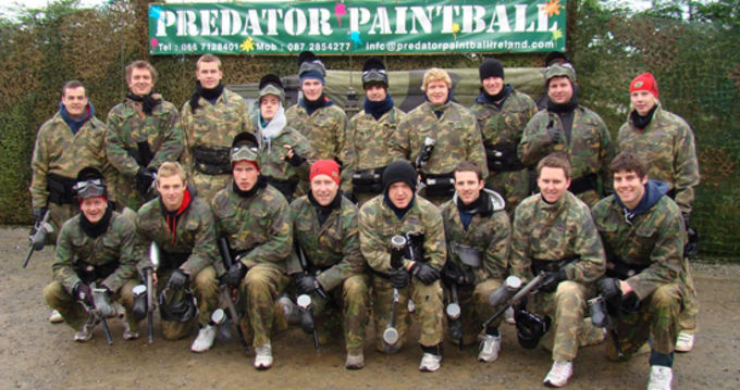 Scott Deasy joins his fellow Academy players and management for a day of paintballing in Tralee recently