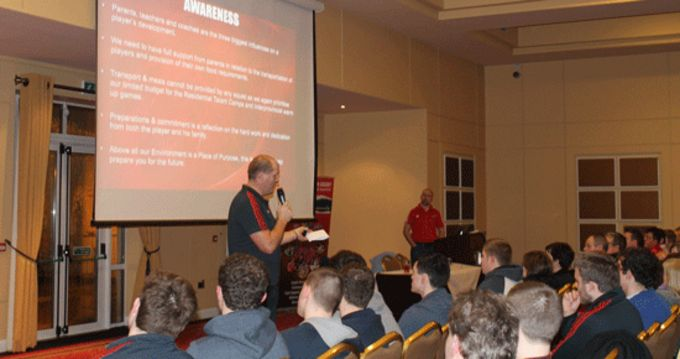 Ultan O'Callaghan, Domestic Rugby Manager, addresses Munster Rep Side players and parents last night in Charleville