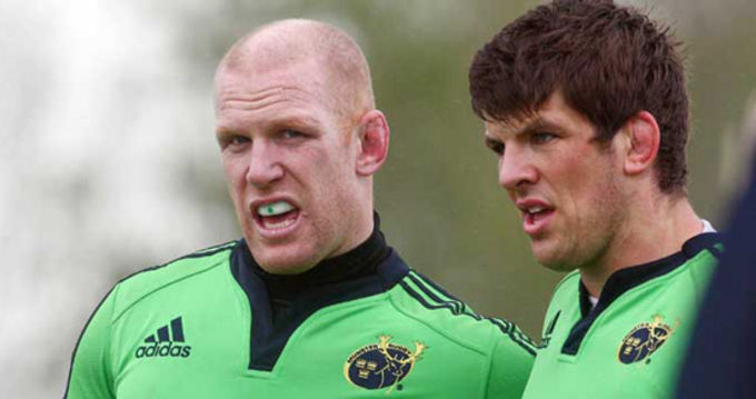 Paul O'Connell and Donncha O'Callaghan at training in UL yesterday