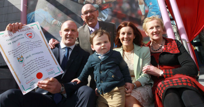 Paul O'Connell pictured with his parents, partner and son at the conferring ceremony in Limerick on sunday.