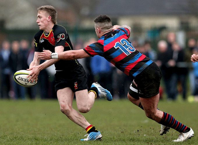 Paul McNamara on the charge for Ardscoil Rís today at Grove Island