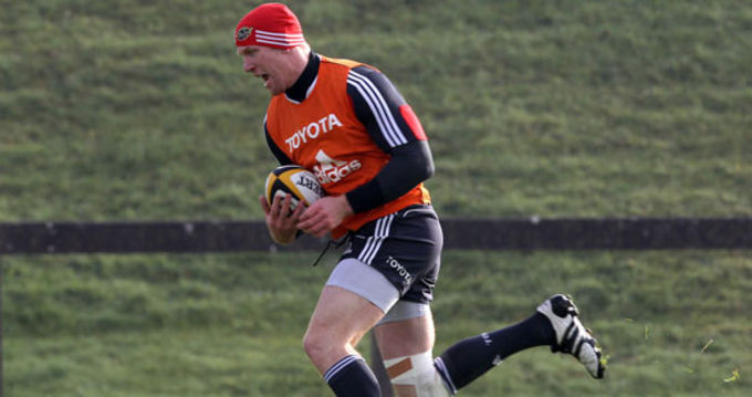Paul O'Connell in Munster training