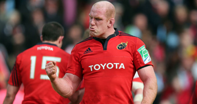 Paul O'Connell in fist pumping mood at the final whistle