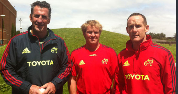 Director of Rugby Rob Penney and Backs Coach Simon Mannix with Skills Coach Ian Costello
