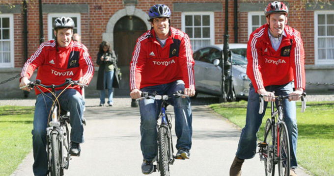Ronan O'Gara, Donncha O'Callaghan and Paul O'Connell on their bikes for Paul Darbyshire and Motor Neurone Research