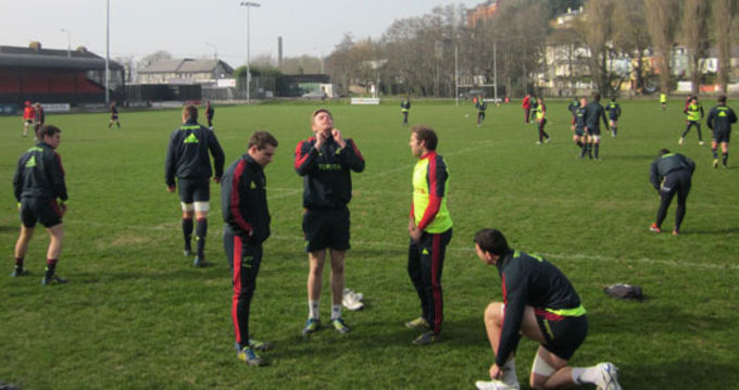 Players getting set for training at the Mardyke