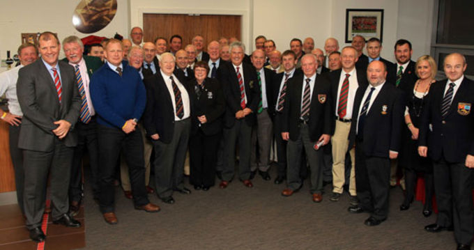 Cyril Fitzgerald, Munster Branch President, Gerry O'Loughlin, Chairman of Domestic Rugby and Scott Walker Domestic Rugby Manager IRFU pictured with Munster Club Presidents in Thomnd Park, Limerick