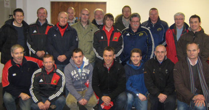 Club volunteer regional development coaches with Munster Rugby's coaching staff Noel O'Meara, Colm McMahon and John Lacey in Thomond Park