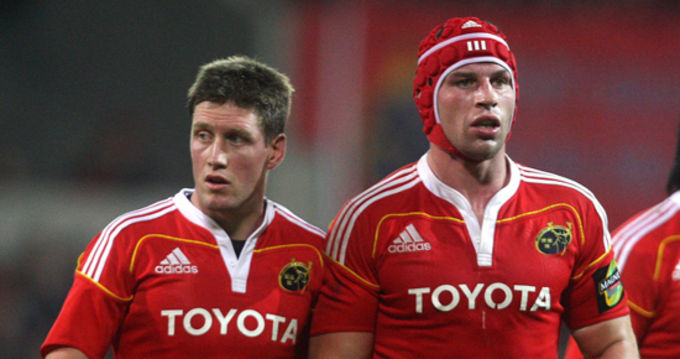 Ronan O'Gara and Denis Leamy who are both named in the replacements