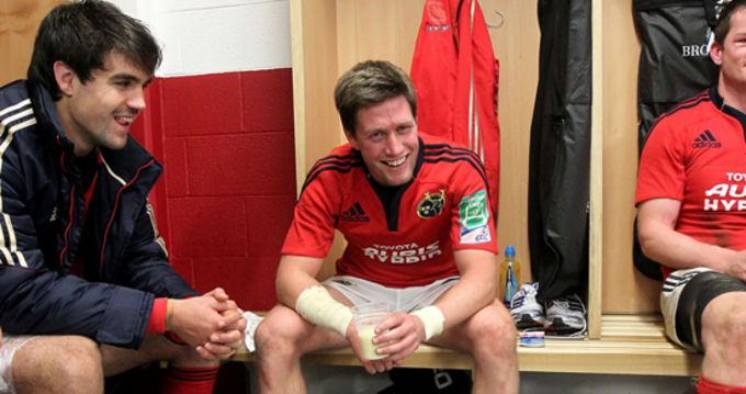 Conor Murray and Ronan O'Gara in good spirits after the win on Saturday night