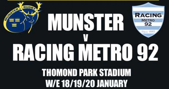 Munster v Racing Metro in the Heineken Cup.... tickets on sale now