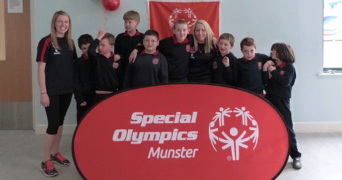 Students and teachers pictured at the Redhill Autistic School on the launch of their Special Olympics Club