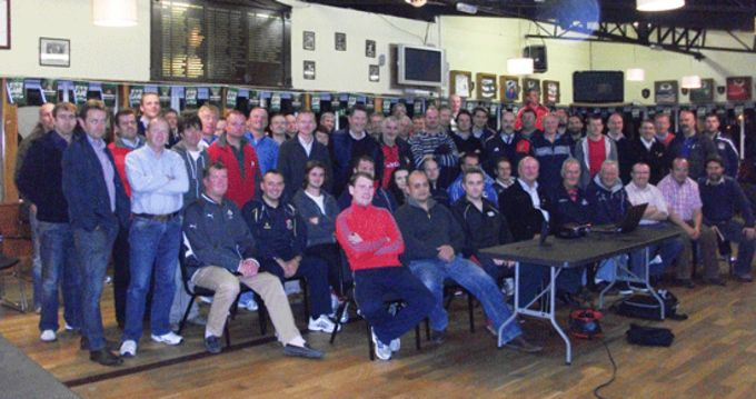 Youth coaches pictured at the Affiliateed Referee Course in Dolphin RFC