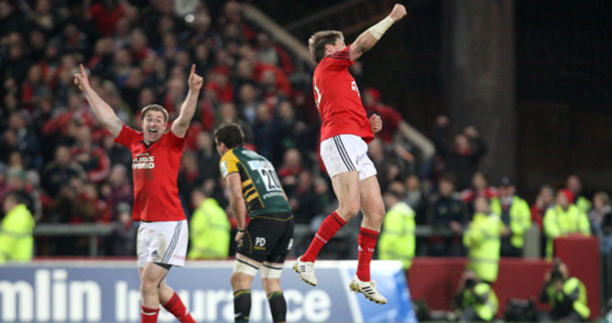 Ronan O'Gara leaps into the air in celebration after kicking his dropgoal