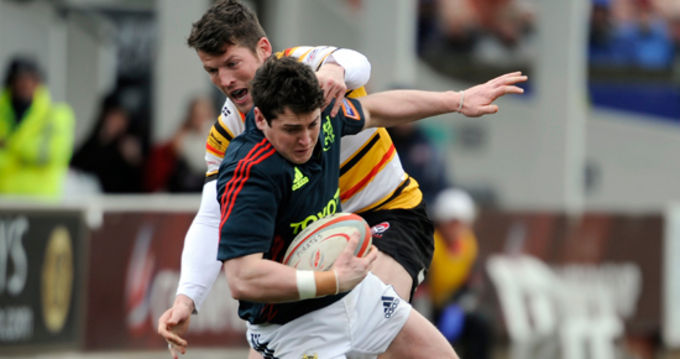 Try scorer Ronan O'Mahony in action against Cornish Pirates