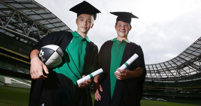 Alan Kinsella and Darragh Whelan help launch the Rugby Faculty