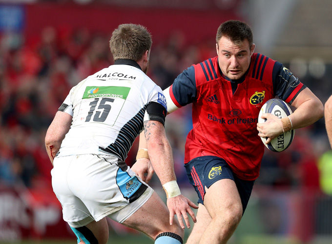 Niall Scannell on the attack against Stuart Hogg when the sides last met in the Champions Cup in October.