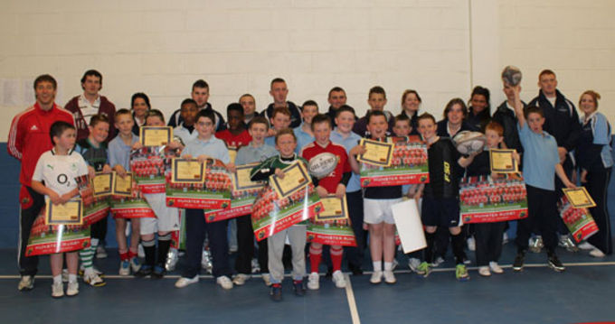 Scoil Isogain pupils at the Lep Rugby Blitz