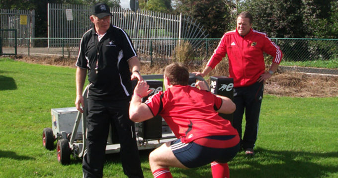 All Blacks Scrum Coach Mike Cron and Munster Rugby Scrum Coach Paul McCarthy with one the players in attendance