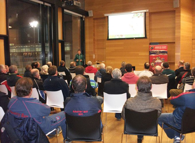 Dr. Garret Coughlan, IRFU, presents a concussion information seminar last evening at the Mardyke, Cork.