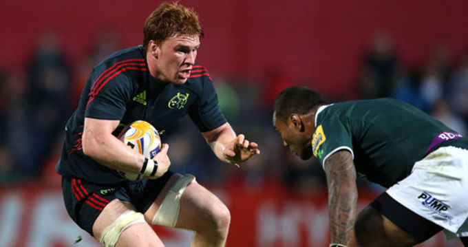Sean Dougall in action for Munster against London Irish