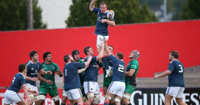 Shane Buckley in the air for the Munster A lineout
