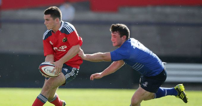 Munster's Steve McMahon gets past Michael Courtney from Leinster