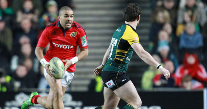 Simon Zebo in action against the Northampton Saints