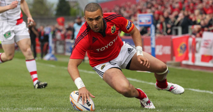 Simon Zebo in for Munster's first try