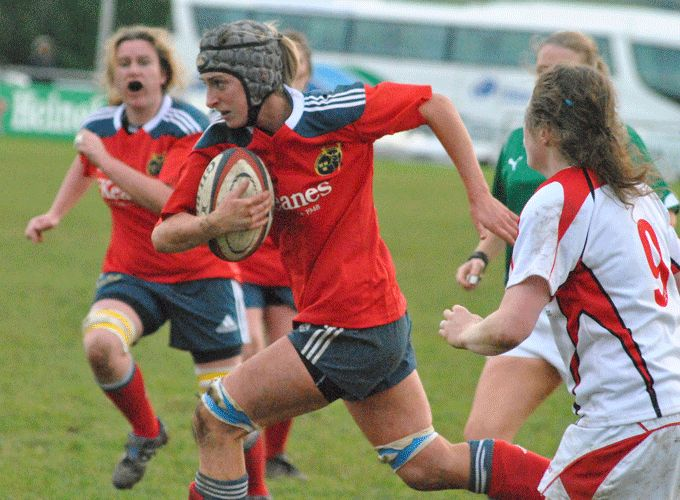 Siobhan Fleming on the charge for Munster in last season's interprovincial fixture against Ulster.