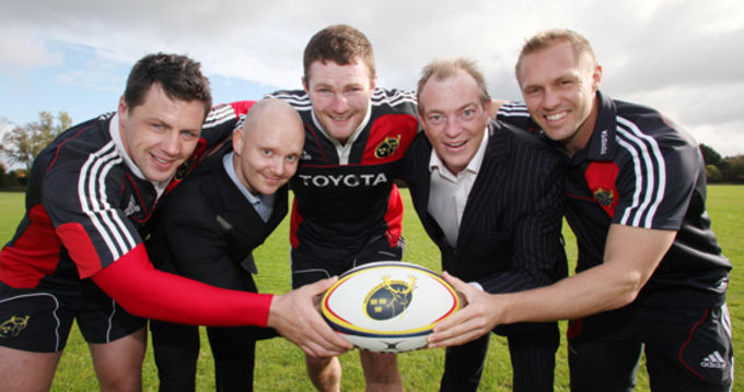 Today in UL, Munster players James Coughlan, Donnacha Ryan & Paul Warwick joined Sony Ericsson Marketing Manager Russel Keating & National Account Manager Patrick Hughes at the official launch