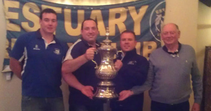 Dave Foley (Thomond), Owen Kelly (Garryowen), Brian Hogan (Old Crescent) and Dave Floyd (Shannon) pictured at the Estuary Cup Draw