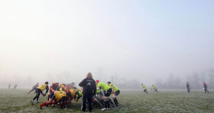 The Munster Squad training in the frost and fog at CIT this morning