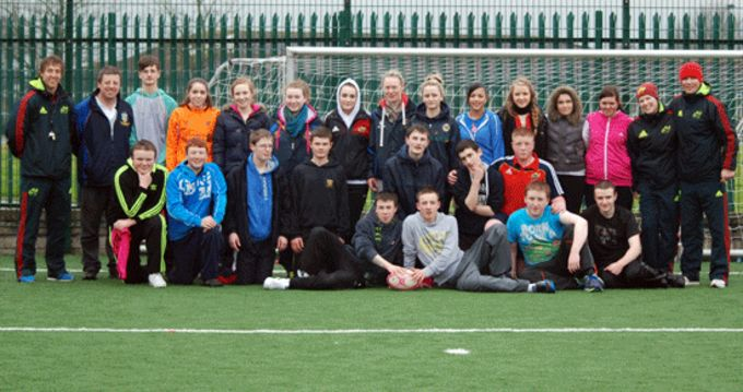 Leprechaun Rugby Coaching Course participants pictured with Munster Rugby Coaching Officers