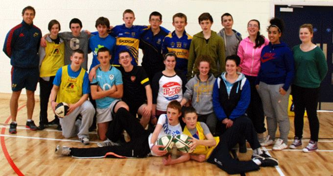St. Ailbes transition year students who took part in the Munster Leprechaun Rugby Coaching Course