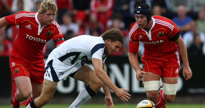 Stephen Archer in action with Billy Holland against Sale Sharks in Musgrave Park