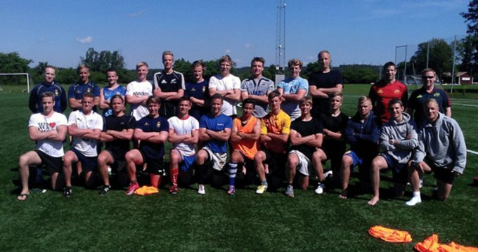 Munster Rugby's Colm McMahon and Keith Murphy pictured with members of the Sweden Academy
