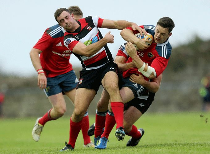 Munster's Darren Sweetnam is brought to ground against Stirling County in last season's British & Irish Cup.