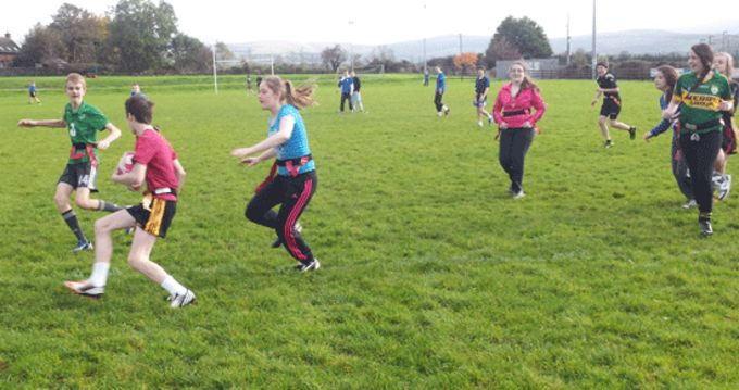 Boys and girls enjoying the Tag Rugby Blitz at Castleisland RFC