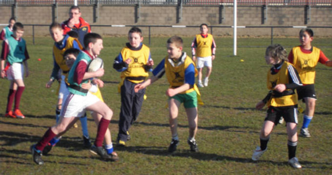 Primary School pupils enjoying a Tag Rugby Blitz at Thomond RFC