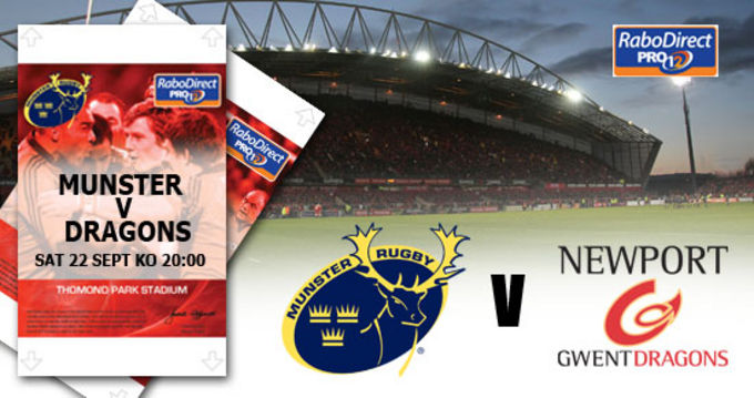 Munster v Newport Gwent Dragons - Round 4 of the RaboDirect PRO12 in Thomond Park this Saturday