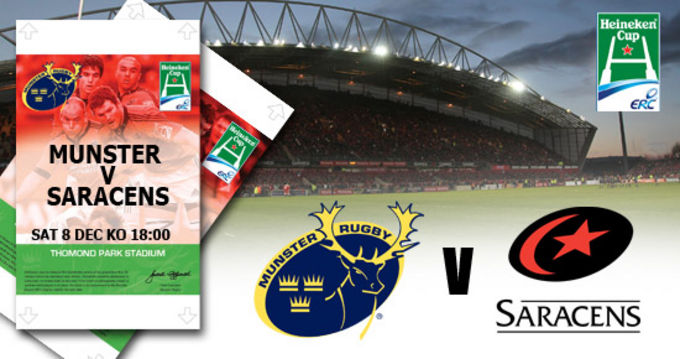 Munster v Saracens in the Heineken Cup, final terrace tickets on sale now