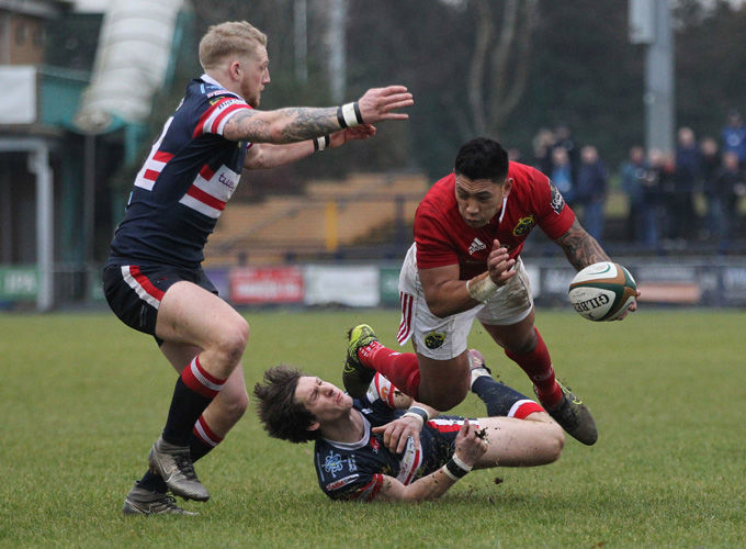 Te Aihe Toma is tackled while on the attack on Saturday.