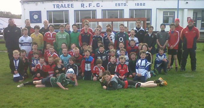 Munster Rugby Coaching Staff with participants of the Easter Camp at Tralee RFC